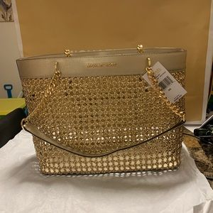 Michael Kors Kinsley Pale Gold Large Tote NWT